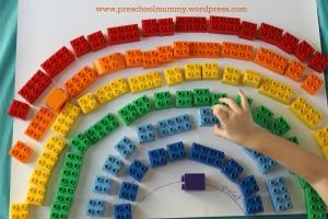 Duplo colour sort and positioning activity
